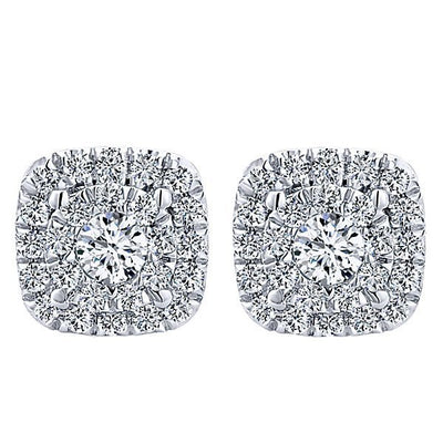 DIAMOND JEWELRY - 14K White Gold 1/4ct Cushion Shaped Halo Cluster Diamond Stud Earrings