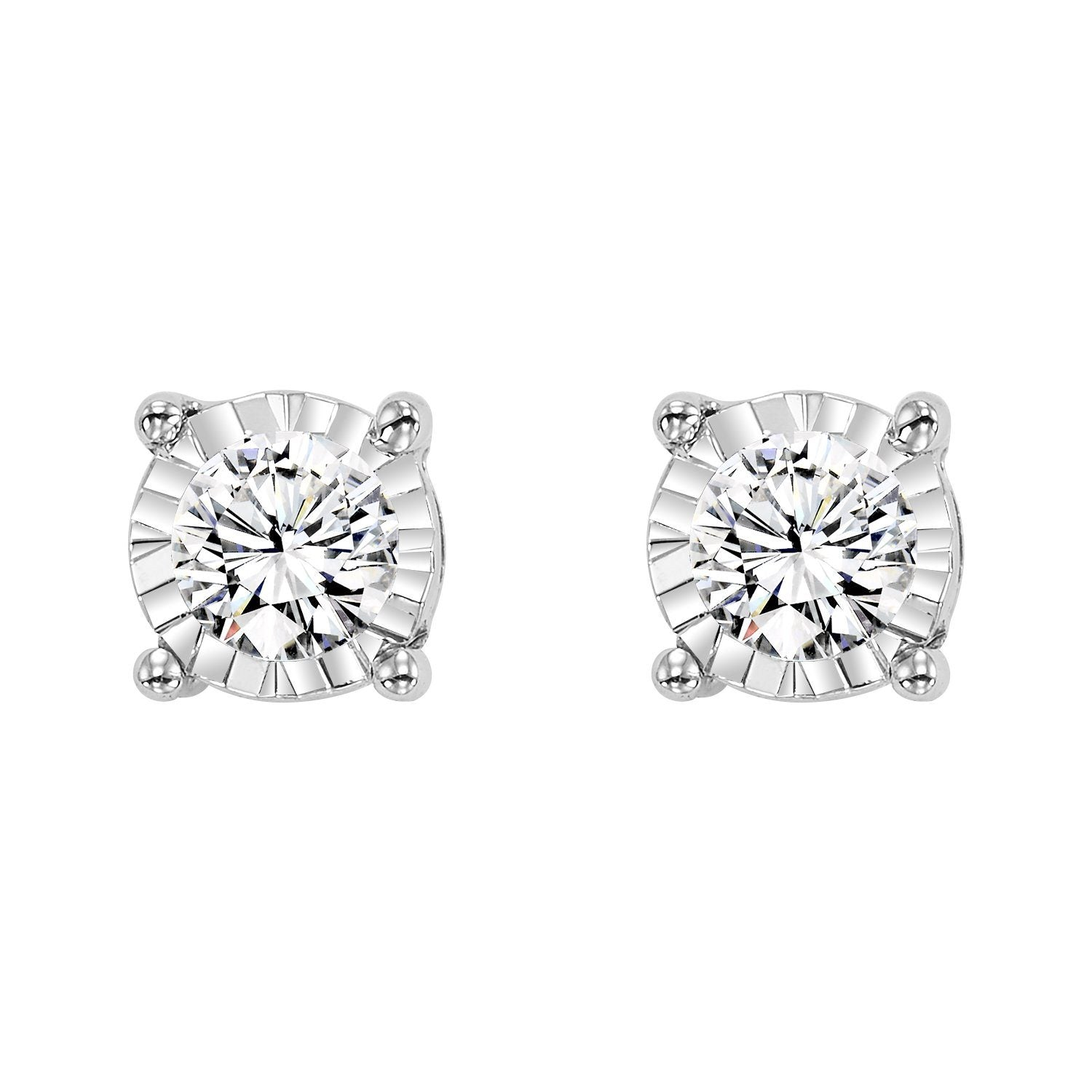 3d6e941a0 DIAMOND JEWELRY - 14K White Gold 1/4cttw True Reflections Round Illusion Diamond  Stud Earrings