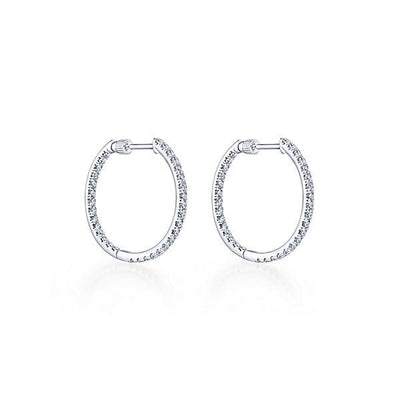 DIAMOND JEWELRY - 14K White Gold 1cttw Inside Out Diamond Hoop Earrings