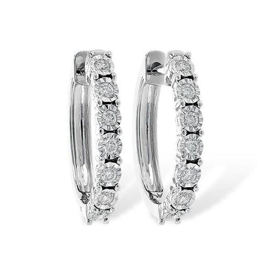14K White Gold .25cttw Illusion Diamond Hoop Earrings