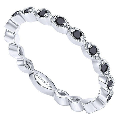 DIAMOND JEWELRY - 14K White Gold Black Diamond Stackable Ring
