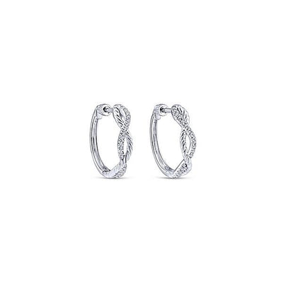 DIAMOND JEWELRY - 14K White Gold Criss Cross Diamond Hoop Earrings
