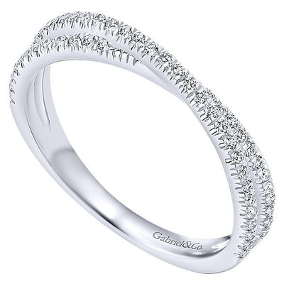 DIAMOND JEWELRY - 14K White Gold Diamond Crossed X Style Stackable Ring