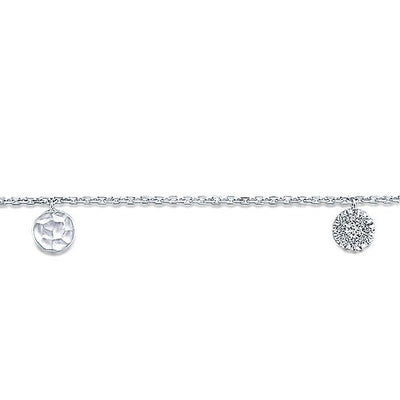 DIAMOND JEWELRY - 14K White Gold Diamond Pave And Hammered Gold Station Bracelet