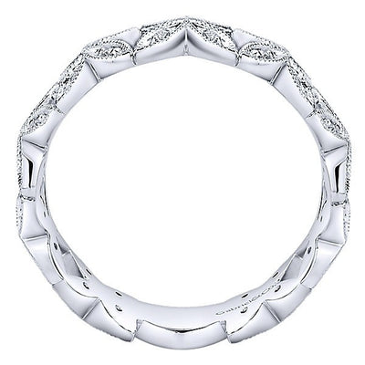 DIAMOND JEWELRY - 14K White Gold Diamond Stackable Ring With Floral Design