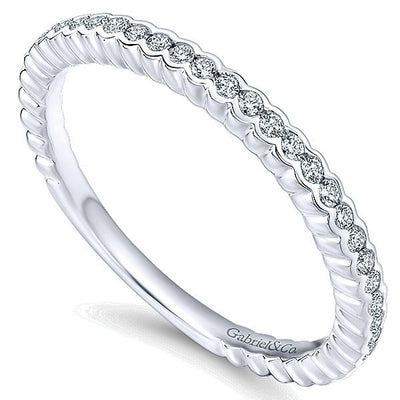 DIAMOND JEWELRY - 14K White Gold Diamond Stackable Ring With Half Bezel Design