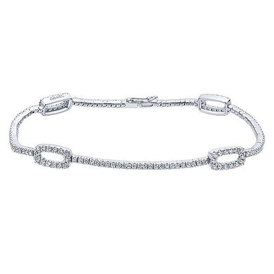 DIAMOND JEWELRY - 14K White Gold Diamond Tennis Bracelet With Open Rectangle Stations