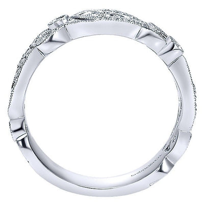 DIAMOND JEWELRY - 14K White Gold Diamond Vintage Style Floral Scroll Stackable Ring
