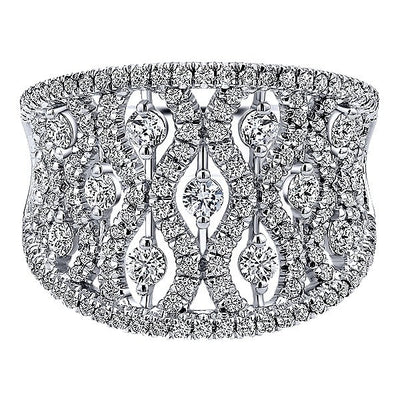DIAMOND JEWELRY - 14K White Gold Intricate Concave Pave Diamond Band