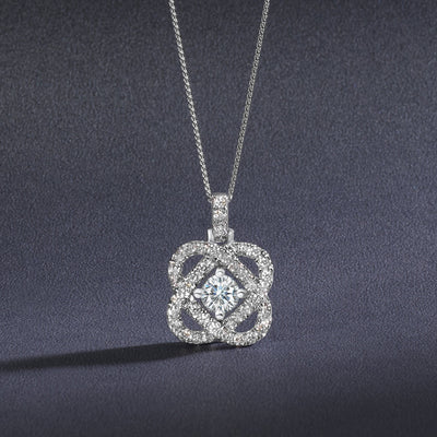 DIAMOND JEWELRY - 14K White Gold Love's Crossing .50cttw Diamond Necklace