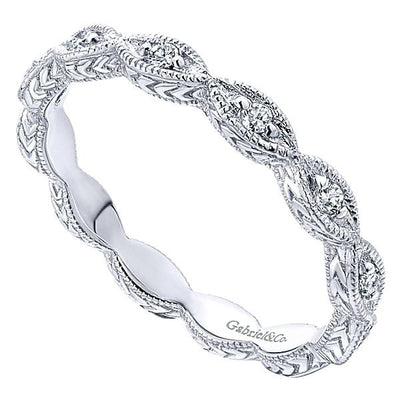 DIAMOND JEWELRY - 14K White Gold Marquise Shaped Stackable Diamond Ring