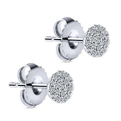 DIAMOND JEWELRY - 14K White Gold Pave Diamond Circle Cluster Stud Earrings