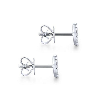 DIAMOND JEWELRY - 14K White Gold Pave Diamond Cluster Octagon Shaped Stud Earrings