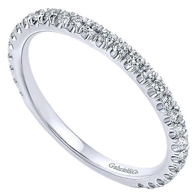 DIAMOND JEWELRY - 14K White Gold Round Diamond Pave Stackable Birthstone Ring