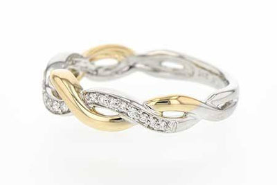 DIAMOND JEWELRY - 14K Yellow And White Gold Diamond Crossover Infinity Style Ring