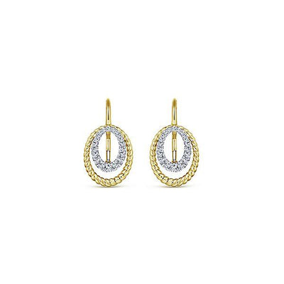 DIAMOND JEWELRY - 14K Yellow And White Gold Pave Diamond Double Oval Drop Earrings