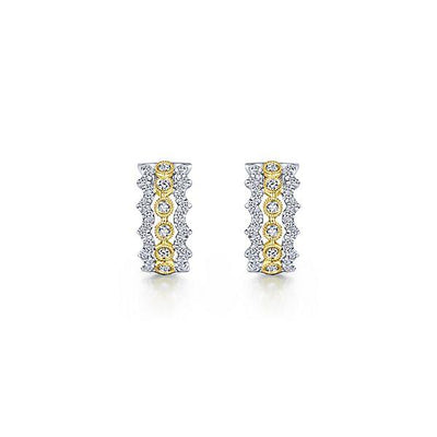 DIAMOND JEWELRY - 14K Yellow And White Gold Stacked Diamond Hoop Earrings