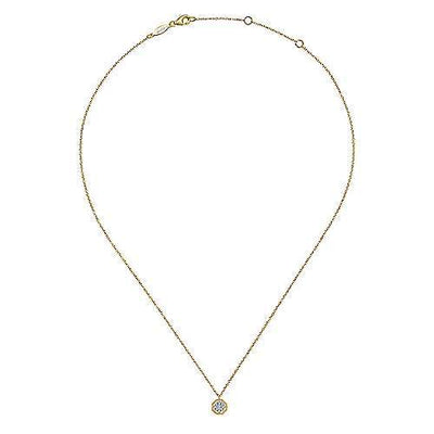 DIAMOND JEWELRY - 14K Yellow Gold 1/10cttw Octagonal Diamond Cluster Halo Necklace