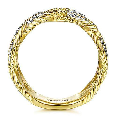 DIAMOND JEWELRY - 14K Yellow Gold 1/2cttw Woven Diamond Band