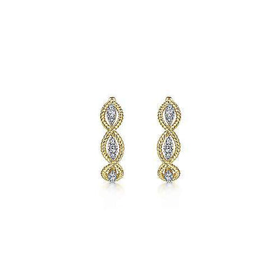 DIAMOND JEWELRY - 14K Yellow Gold 1/3cttw Woven Diamond Hoop Earrings