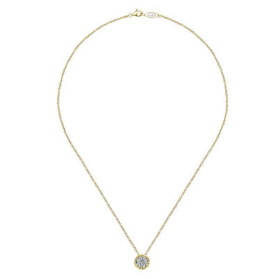DIAMOND JEWELRY - 14K Yellow Gold Diamond Cluster Necklace With Braided Halo