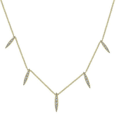 DIAMOND JEWELRY - 14K Yellow Gold Diamond Kaslique Station Necklace