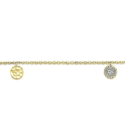 DIAMOND JEWELRY - 14K Yellow Gold Diamond Pave And Hammered Gold Station Bracelet