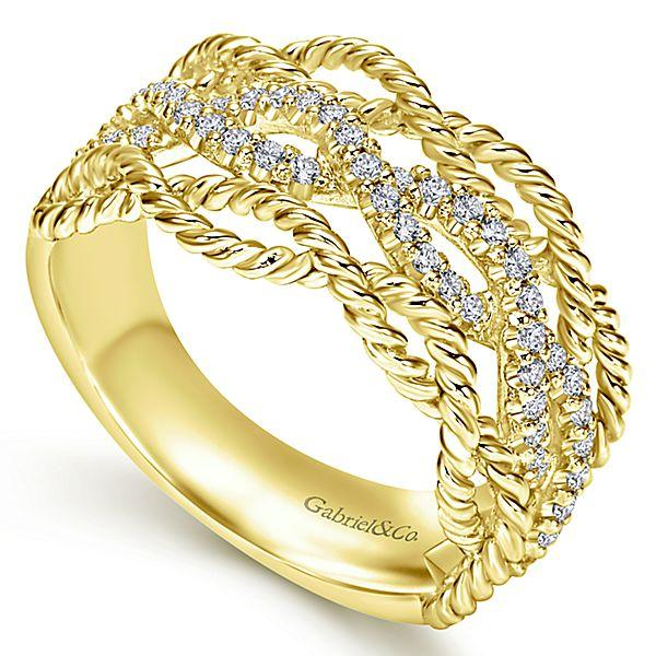 14k Yellow Gold Entwined Pave Diamond Ring Mullen Jewelers