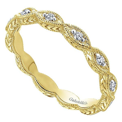 DIAMOND JEWELRY - 14K Yellow Gold Marquise Shaped Stackable Diamond Ring