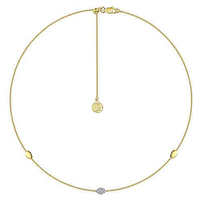 14K Yellow Gold Marquise Station Gold and Diamond Choker Necklace