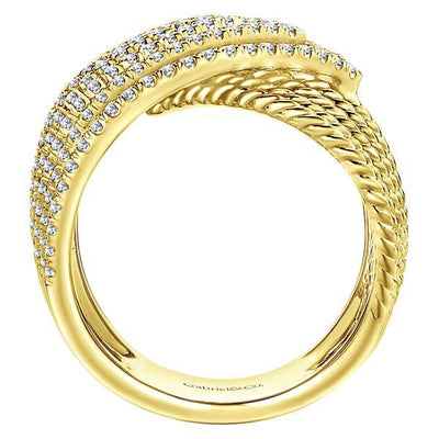 DIAMOND JEWELRY - 14K Yellow Gold Pave Diamond Chevron Pattern Band