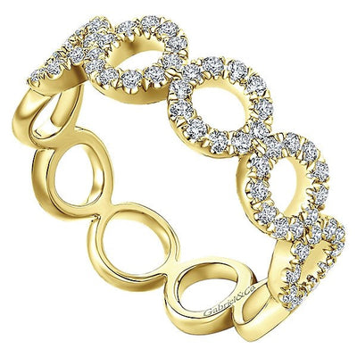 DIAMOND JEWELRY - 14K Yellow Gold Pave Diamond Circle Station Stackable Ring