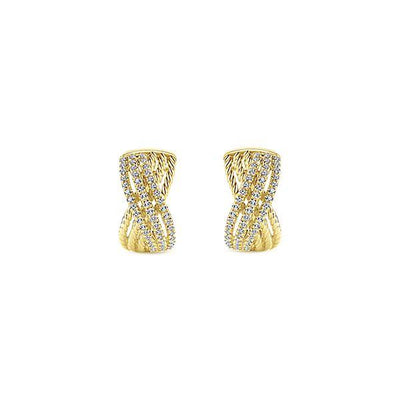 DIAMOND JEWELRY - 14K Yellow Gold Pave Diamond Crossover Huggie Earrings