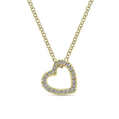 14k yellow gold pave diamond heart necklace mullen jewelers diamond jewelry 14k yellow gold pave diamond heart necklace aloadofball Images
