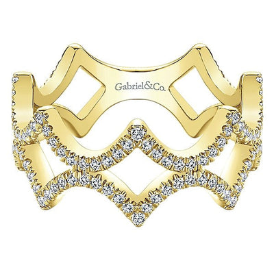 DIAMOND JEWELRY - 14K Yellow Gold Pave Diamond Peaked Trellis Stackable Ring
