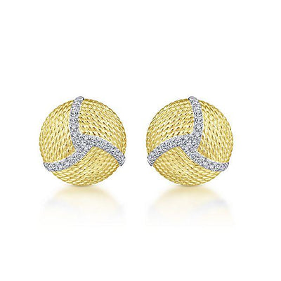 DIAMOND JEWELRY - 14K Yellow Gold Pave Diamond Roped Disc Stud Earrings