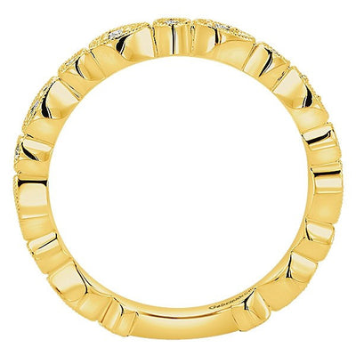 DIAMOND JEWELRY - 14K Yellow Gold Round Diamond Vintage Station Stackable Ring
