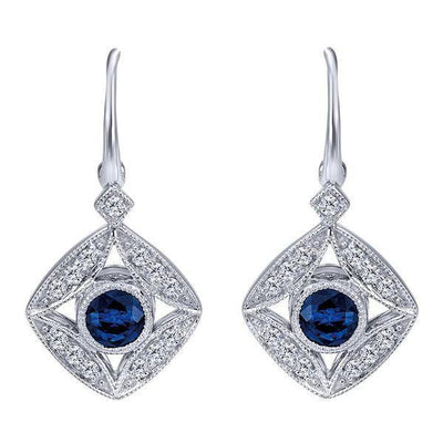 DIAMOND JEWELRY - Blue Sapphire And 1/4cttw Diamond Vintage Style Drop Earrings