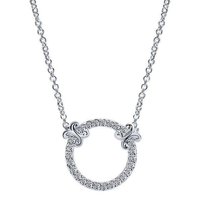 DIAMOND JEWELRY - Circle Diamond Necklace With Ornate Accents
