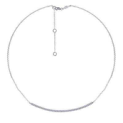 DIAMOND JEWELRY - Curved .40cttw Diamond Bar Necklace With Pave Set Diamonds