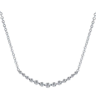 DIAMOND JEWELRY - Curved Common Prong Graduated Bar Diamond Necklace