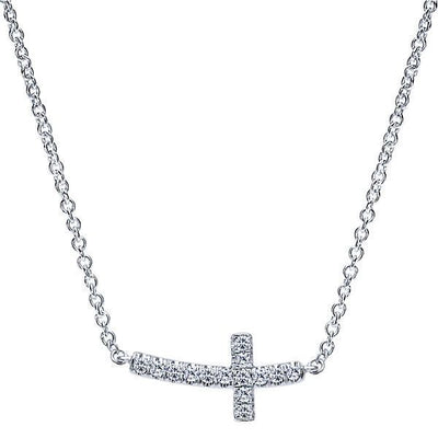 DIAMOND JEWELRY - Curved East To West Diamond Cross Necklace With Pave Set Diamonds