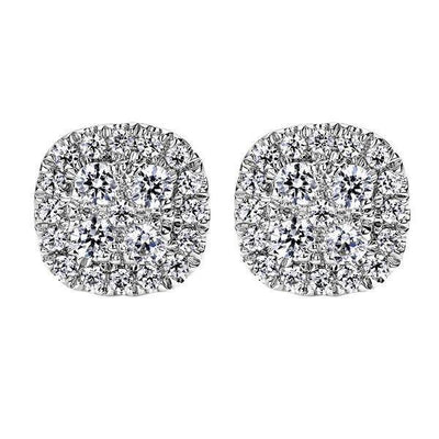 DIAMOND JEWELRY - Cushion Shaped 1/2cttw Diamond Cluster Stud Earrings