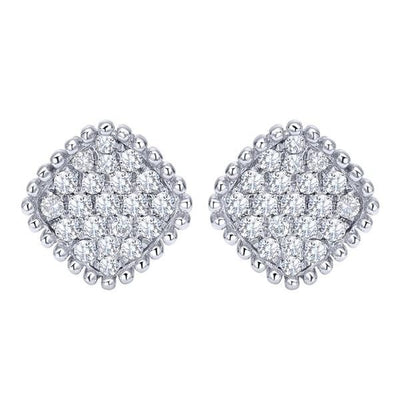 DIAMOND JEWELRY - Cushion Shaped 1/3cttw Diamond Cluster Stud Earrings