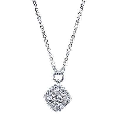 DIAMOND JEWELRY - Cushion Shaped Diamond Cluster Necklace With Pave Set Diamonds