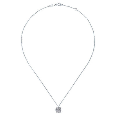 DIAMOND JEWELRY - Cushion Shaped Round Diamond Pave Cluster White Gold Necklace