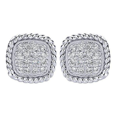 DIAMOND JEWELRY - Diamond Cluster Cushion Shaped Stud Earrings With Rope Detail