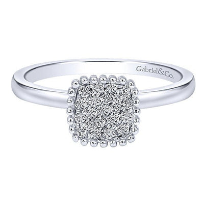 DIAMOND JEWELRY - Diamond Cushion Shaped Cluster Top Ring With 1/6cttw Of Diamonds