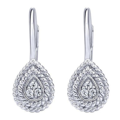 DIAMOND JEWELRY - Diamond Drop Pear Shape Earrings In 14K White Gold