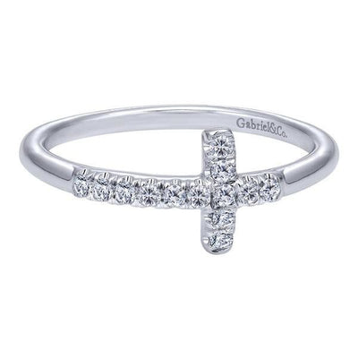 DIAMOND JEWELRY - Diamond Sideways Cross Ring With 1/7cttw Of Diamonds